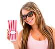 Woman eating popcorn at the movies