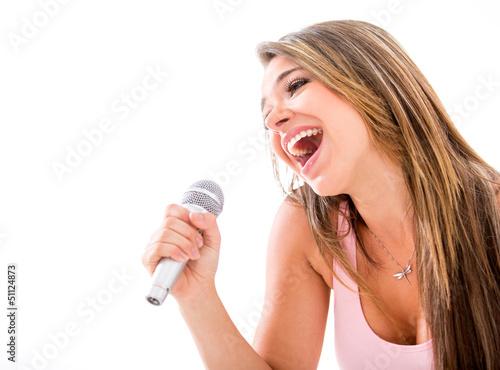 Woman karaoke singing