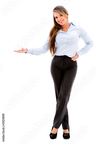 Business woman displaying something