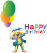 A clown with balloons and a Happy Birthday greeting