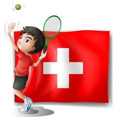 A tennis player in front of the Switzerland flag