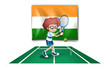 A boy playing tennis in front of the Ireland flag