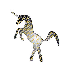 Unicorn abstract gold and black logo