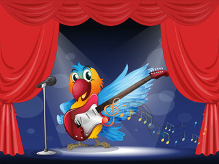A parrot with a guitar at the stage