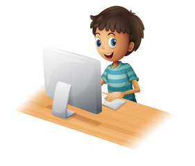 A boy playing computer
