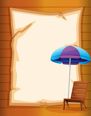 A paper with a beach chair and umbrella