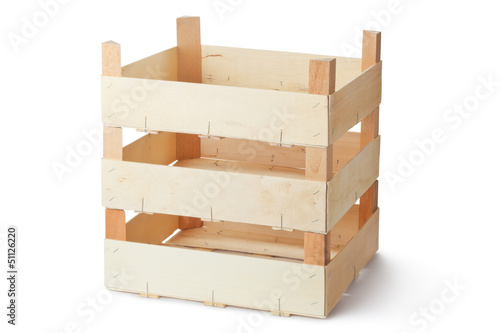 Three empty wooden crates