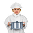 Young cook. Small girl in white suit with saucepan