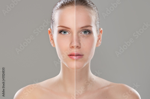 Retouched woman face