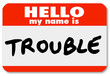 Hello My Name is Trouble Nametag Sticker