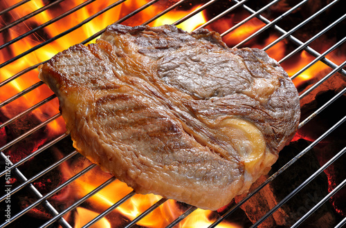 Grilled beef steak with flames