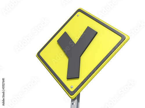 Y Intersection Yield Sign white Background