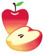 水彩風のりんご