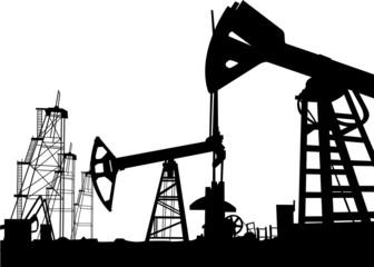 Oil derrick in field