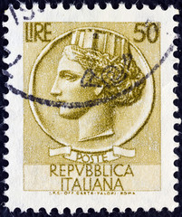 Ancient coin of Syracuse (Italy 1953)