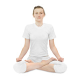Young woman  in the lotus position poster