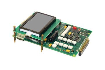 Electronic circuit board with display.