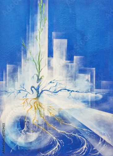 Abstract Painting Of A Plant Growing In A Polluted Modern City