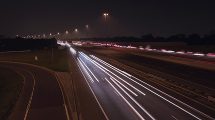 Timelapse of Hwy 401 in Toronto at night.