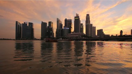 Singapore Central Business District City Skyline at Sunset