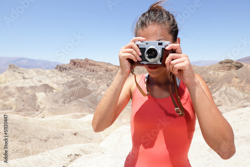 Tourist photographer woman in Death Valley