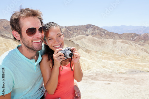 Tourists couple fun in Death Valley