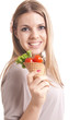 beautiful girl with cherry tomato and green salad