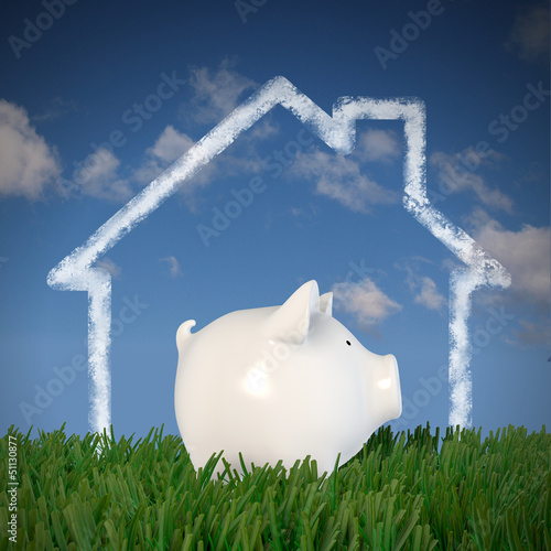 Piggy bank - drawn house in the sky (profil)