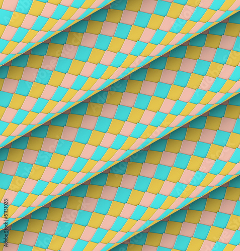 fish scale diagonal tiled blue yellow pink roll shape