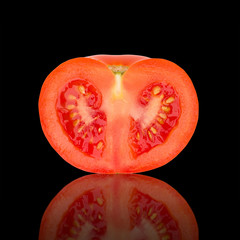 Sliced Tomato on Black