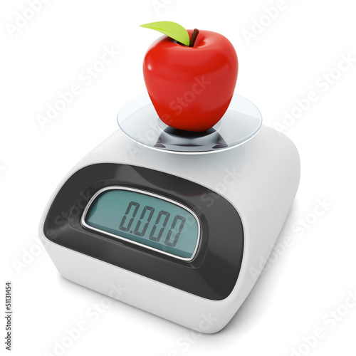 Diet and weight loss. Scales with apple products из Dukes, Роялти-фри стоковое фото #51131454 на Fotolia.ru