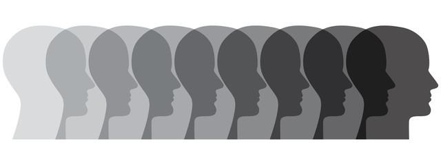 Reihe aus 9 menschlichen Gesichtern in Grauschattierungen
