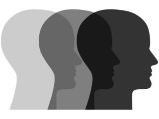 Icon aus 3 sich überschneidenden Gesichtern in Grautönen