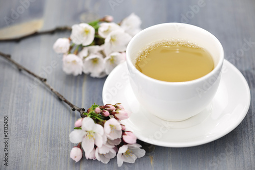 Cup of green tea and japanese cherry blossom