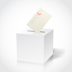 ballot box on white