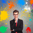 man with color splashes around him