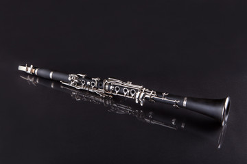 Close-up Of Clarinet Isolated On Black Background
