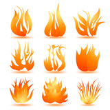set of symbols of fire