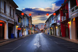 Fototapety Old building in Phuket town twilight, Thailand