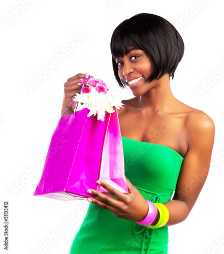 Black woman with shopping bag