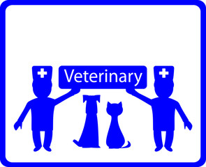 blue veterinary background with two doctor and pets