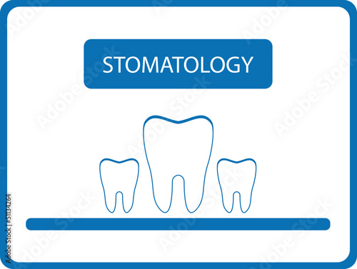 blue stomatology background with isolated tooth
