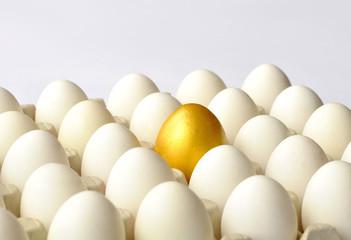 Golden egg among white eggs