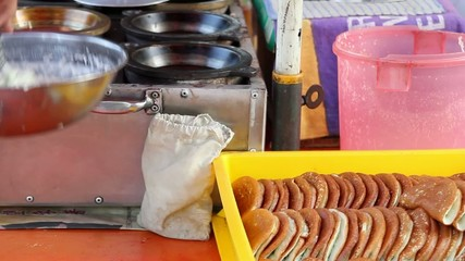 Apam Balik Dessert Street Vendor Cooking in Penang Malaysia