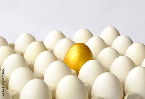 Golden egg among white eggs
