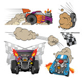 Racing cars set, vector illustration
