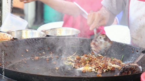 Street Hawker Stir Frying Radish Cake in Singapore 1080p