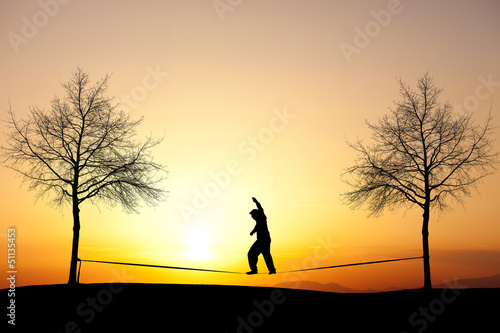 slacklining at sunset