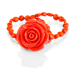 Beautiful peach-colored bracelet with rose isolated on white