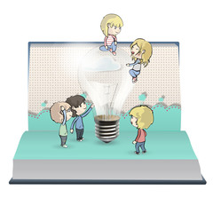 Kids around bulb in book.
